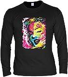 Ausgefallenes Herren Langarmshirt in schwarz mit coolem Neon Motiv: Marilyn Monroe im Print Art Style