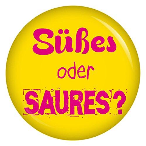üßes oder Saures gelb Button Ansteckbutton 37mm für Halloween (Diy Halloween Süßes Kostüme)