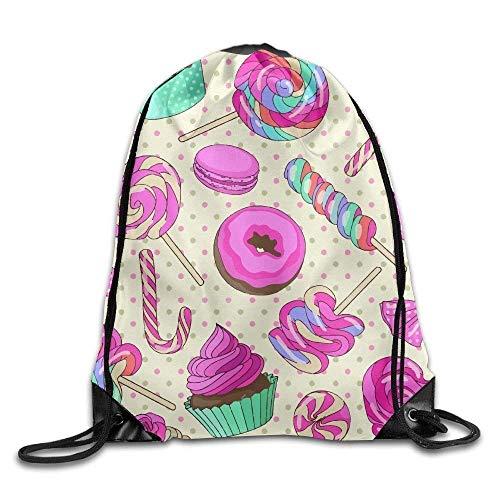 eutel/Sportbeutel, Unisex Candy Donut Cute Print Drawstring Backpack Rucksack Shoulder Bags Gym Bag Sport Bag ()