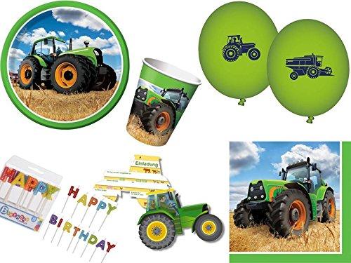 59-tlg. Partyset Traktor Bauernhof - für 8 Kinder - Partygeschirr und Zubehör