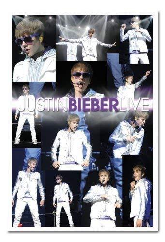 Justin Bieber Live Montage Poster Weiß Gerahmt & Satin Matt Laminiert - 96.5 X 66 cm ( Ca. 38 X 26 Zoll )