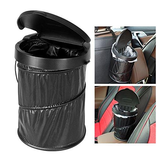 WINOMO Tragbare Auto Mülleimer Wasserdicht Zusammenklappbare Pop-up Papierkorb Müllbehälter mit Deckel mit 30 stücke Weiß Müllsäcke - Weiß Mit Deckel Mülleimer