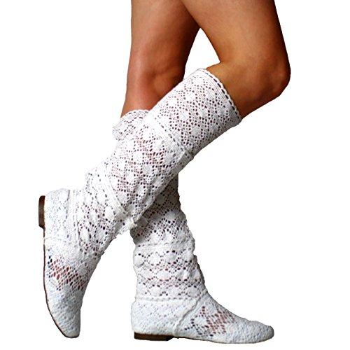 Yying Damen Sommer Stiefel Stiefeletten Flach Stickerei Hohe Stiefel, Sexy Mesh Schlupfstiefel, Slip-on Schuhe Boots Weiß 36