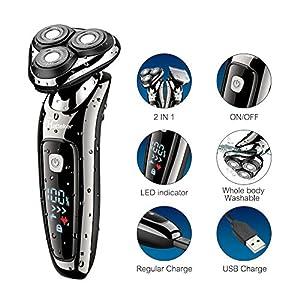 HATTEKER Electric Shaver for Men Rotary Shaver Beard Trimmer Wet Dry Cordless Razor Sideburn Trimmer USB Rechargeable 2 in 1