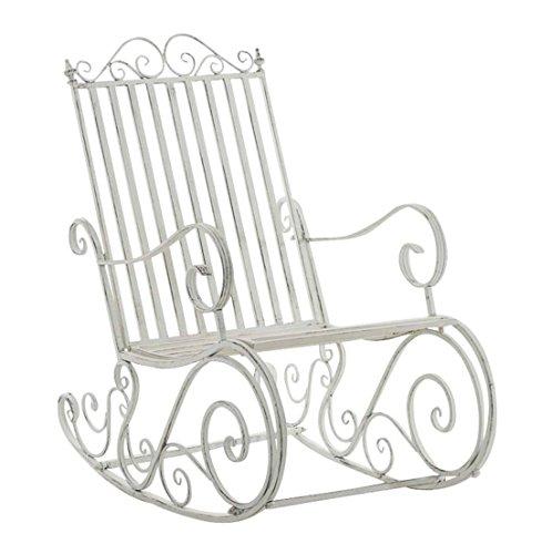Smilla Gemülicher Schaukelstuhl in Antik-Weiß, Metall, Handarbeit, 111627931CL, Einfach Schön