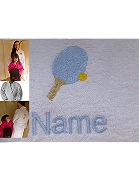 Accappatoio per adulti con un tavolo tennis logo e nome a scelta in bianco, taglia M, L, XL e XXL, White, XXLarge