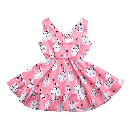 Ostern Kinder Kinder Baby Mädchen Sleeveless Kaninchen Print Princess Vest Dress Malloom -