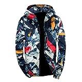 Xmiral Herren Jacke Outwear Winter Camouflage Print Pullover Langarm mit Kapuze Mantel (3XL,Blau)