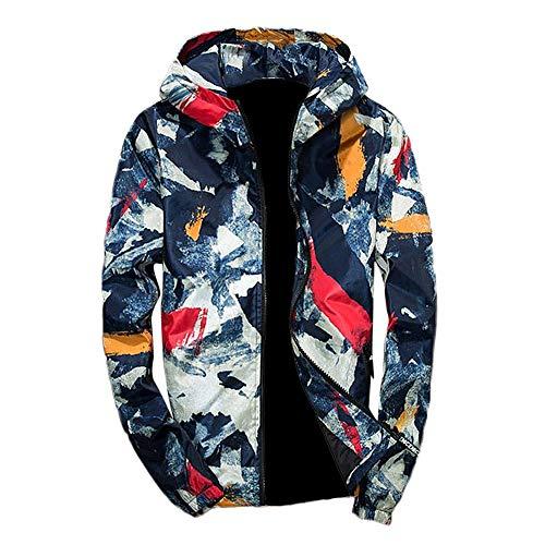 Xmiral Herren Jacke Outwear Winter Camouflage Print Pullover Langarm mit Kapuze Mantel (M,Blau)