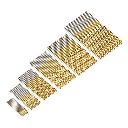 JTENG 60 uds. Set Taladro Micro 1/1,5/2/2,5/3/3,5 mm de titanio de alta velocidad HSS brocas helicoidales de metal Taladro pone el bit Profi de siembra (10 p. * 6 Pack)