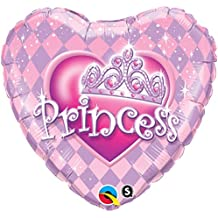 QUALATEX - Globo Corazón Princess, Color Rosa, Talla 45 cm diámetro