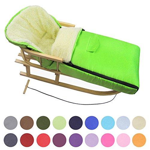BAMBINIWELT KOMBI-ANGEBOT Holz-Schlitten mit Rückenlehne & Zugseil + universaler Winterfußsack (108cm), auch geeignet für Babyschale, Kinderwagen, Buggy, aus Wolle UNI (Grün)