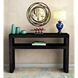 Corazzin Wood Sheesham Wood Console Table for Home and Living Room | Wooden Table | 2 Shelves Storage | Warm Chestnut Finish