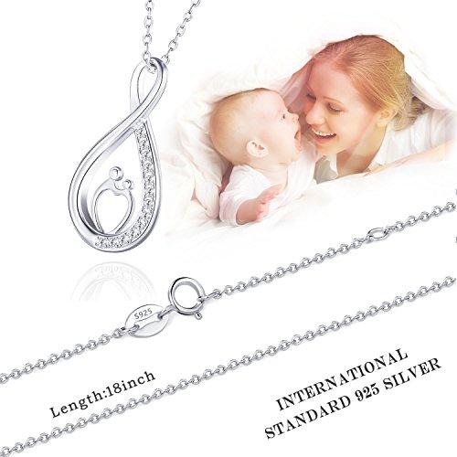 Billie Bijoux 925er Sterling Silber Unendlichkeits-Halskette Weißes Gold überzogen Diamant Mama und Kinder Anhänger Bestes Geschenk zum Muttertag 18″