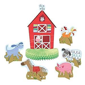 Unique Party 72460 - Juego de 6 decoraciones de mesa para fiesta de granja