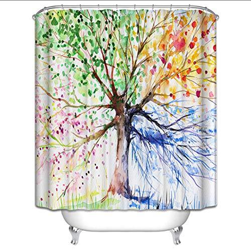hysxm Badvorhang des Orchideenduschvorhangs 3D Hakt Polyestergewebe Weihnachtslandschaftsgrünwaldweinlese Wasserdichter Badezimmervorhang-160(H)*200(W) cm