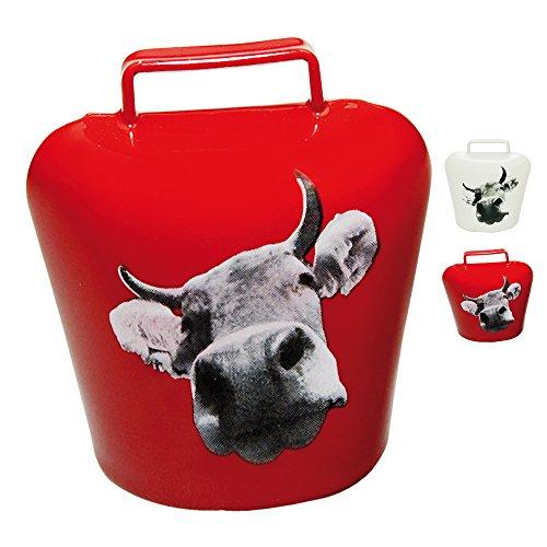 �� Kuh Aufdruck in Bildform ✓ Magnet - ultra stark in schickem Allgäu Motiv ✓ Kuh-Glocke   Blickfang   Super für die Magnetwand oder Kühlschrank   hält 10 DIN A4 Seiten (Rot) ()