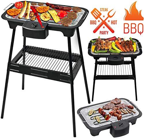 ADLER 2 in 1 Elektro Grill | 2.000 Watt | Tischgrill | Standgrill | Partygrill | elektrischer BBQ Grill | Tisch Grill elektrisch | Cool Touch Griffe | -