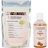 KNATURALS Grade A Thanaka Powder (50 Gms) & Kusuma Oil (100 Ml) For Hair Removal