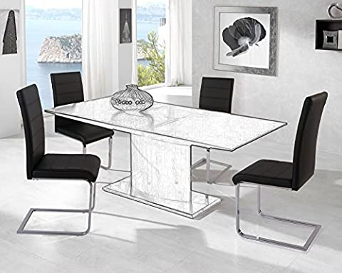 Life Carver® Set of 4 High Back Black Cantilever Dining Chairs Stylish Padded Faux Leather Dining Chair Home Kitchen Furniture Dinning Room Sets (4 chairs set)