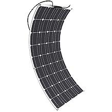 GIARIDE 100W 18V 12V Solar Panel Monocristalino Célula Placa Solar Portatil Flexible Fotovoltaico Módulo Cargador Batería Ligero Impermeable con Mc4 Conector off Grid para Techo, RV, Barco, Caravana, Coche, 12V Baterías