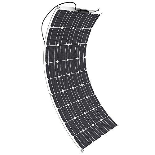 GIARIDE 100W 18V 12V Solar Panel Monocristalino Célula Placa Solar Portatil Flexible Fotovoltaico Módulo Cargador Batería Ligero Impermeable con Mc4 Conector off Grid para Techo, RV, Barco, Caravana, Coche, 12V Baterías (precio: 139,99€)