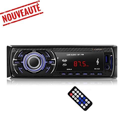 Catuo Autoradios Bluetooth Universel Récepteur Radio FM Lecteur MP3 WMA Stéréo HIFI HD Conversation Mains Libres Carte SD Fonction AUX Carte SD/USB/Smartphone Contrôle Basse Aigus Égalisateur