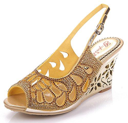 Honeystore Frauen Kunstleder Keil Absatz Sandalen mit Strass Schuhe Gold 36.5 EU (Alden Stiefel)