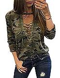 Damen Bluse Camouflage Xinan Langarm Shirt Schlanken Lässige Print Top
