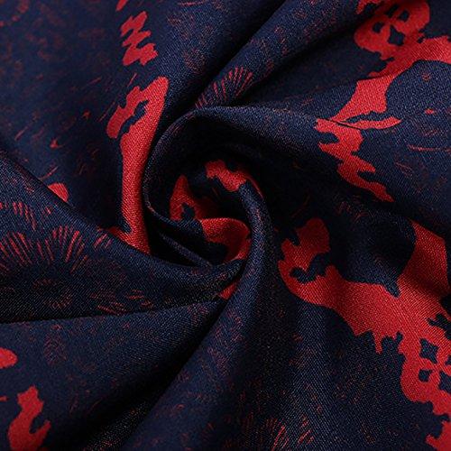 Damen Kleider Herbst Und Winter Beiläufigen Langärmeligen Blusenkleid Druckkleider Cocktailkleid Abschlusskleid BallkleidBallonkleider Rot