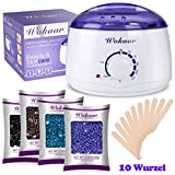 Wax Warmer Electric Wachs Heizung Haarentfernung Waxing Kit mit 4 verschiedenen Geschmacksrichtungen Hartwachs Bohnen + 10 Wachs Applikator Sticks (Kamille, Lavendel, Natur, Schokolade)