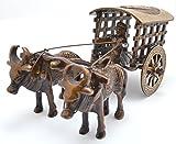 Two Moustaches Village Bullock Cart Brass Showpiece