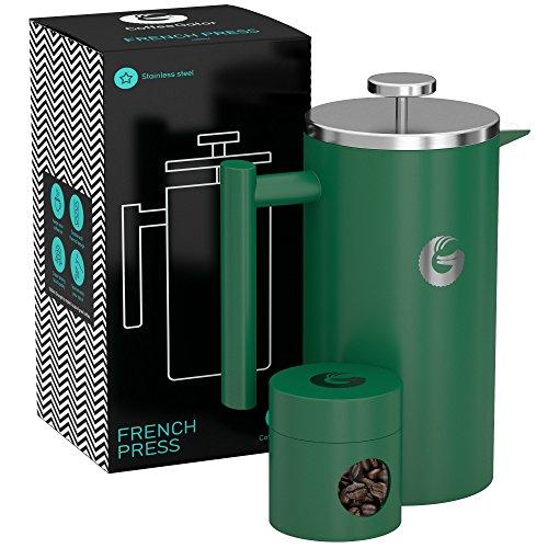 FRENCH PRESS/KAFFEEBEREITER/TEEBEREITER 1 Liter von Coffee Gator - Doppelwandige Französische Kaffeepresse um Kaffee länger warm zu behalten - Kaffeekanne in Grun - Mini Kaffeedose gratis dazu