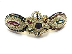 Accessher Multi-colour Floral Designer studded back clip hair accessories for Women