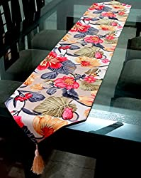 Decorika Pretty Floral Print Ribbed Cotton Table Runner - 2mts x 30cms