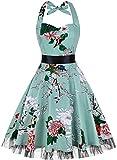 OTEN Damen 50s Vintage Retro Festliche Kleider Neckholder Cocktailkleider Party kleid Sommerkleid ¡