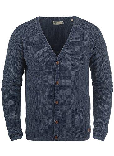 !Solid Tebi Herren Strickjacke Cardigan Grobstrick Winter Pullover mit V-Ausschnitt, Größe:S, Farbe:Insignia Blue (1991) -