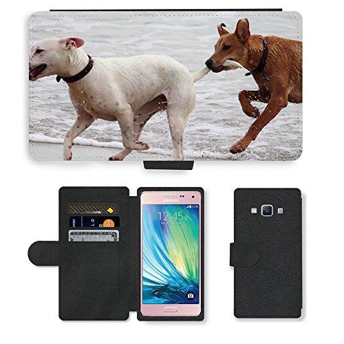 Just Phone Cases PU LEDER LEATHER FLIP CASE COVER HÜLLE ETUI TASCHE SCHALE // M00421764 Hunde Stöckchen zu spielen Beißen Romp // Samsung Galaxy A5 (not fit S5)