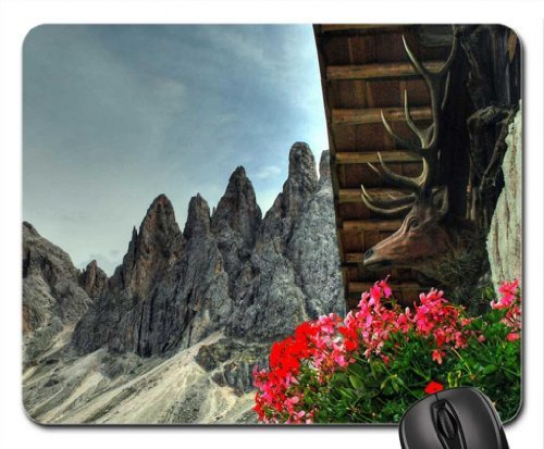 deer head on a lodge in the alps hdr Mouse Pad, Mousepad (Mountains Mouse Pad) -