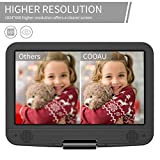 """COOAU 12.5"""" Portable DVD Player with 10.5"""" Eye-Protected HD Swivel Screen, 5hrs Rechargeable Battery, Support Region Free, USB/SD Card, Black"""