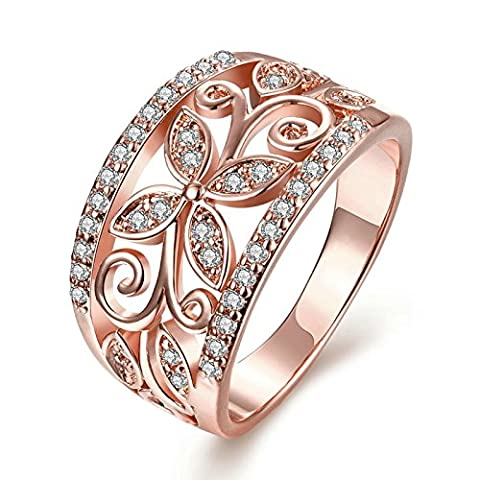Gnzoe Jewelry Wide Hollow Pattern Crystal Rose Gold Women Jewelry Engagement Rings Size 8
