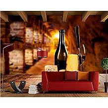 Meaosy Vino Queso Uvas Botella Mesa Comida Papel Tapiz Fotográfico, Sala De Estar Tv Sofá