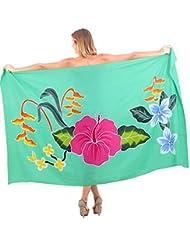 La Leela rayonne lisse peinte à la main hibiscus sarong pareo bikini envelopper 78x43 pouces