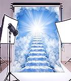 YongFoto 2x3m Foto Hintergrund Verträumt Märchen Heiliger hellblauer Himmel Weisse Wolke Himmelsleiter Fotografie Hintergrund Fotoshooting Portraitfotos Party Kinder Hochzeit Fotostudio Requisiten