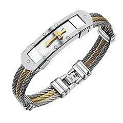 Idea Regalo - iLove portatili in acciaio inox Bracciale braccialetto Argento Oro Crocifisso Croce Filo Intrecciato Biker Uomo