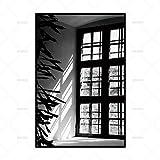 zxddzl Leinwand malerei wandkunst Bild drucken Dekoration tür schwarz und weiß Bild Fenster Poster Dekoration 3 50 * 70