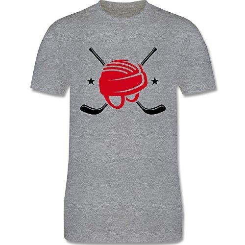 Eishockey - Helm Eishockeyschläger - Herren Premium T-Shirt Grau Meliert