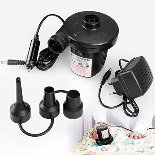 Elektrische Luftpumpe, Vitutech Elektropumpe 50W Luftkompressor Schlauchboote Elektropumpe 3 Aufsätze für Luftmatratzen,Gästebetten, aufblasbare Schwimmtiere oder Camping–Automatisches 220V-240V/12V