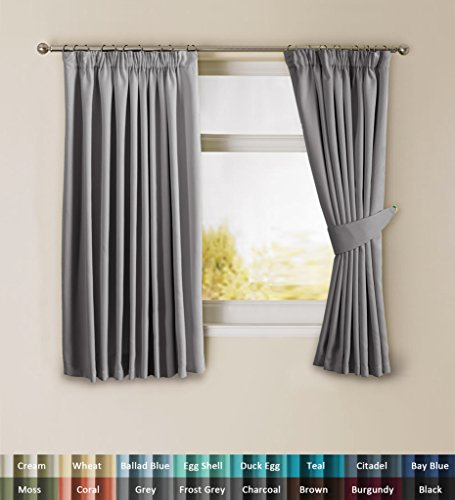 Attractive H.Versailtex Solid Thermal Insulated Blackout Pencil Pleat Anti   Mite  Curtains For Bedroom With Two Free Tiebacks   Grey, Energy Saving U0026 Noise  Reducting, ...