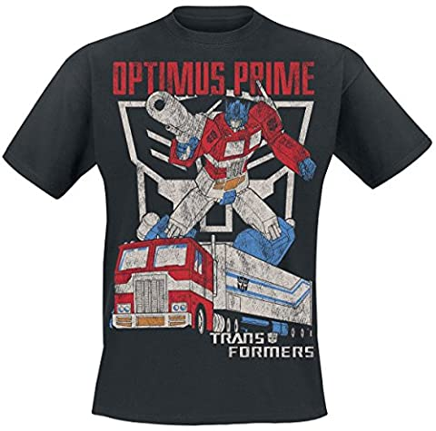 Transformers Optimus Prime Distressed T-Shirt schwarz XL